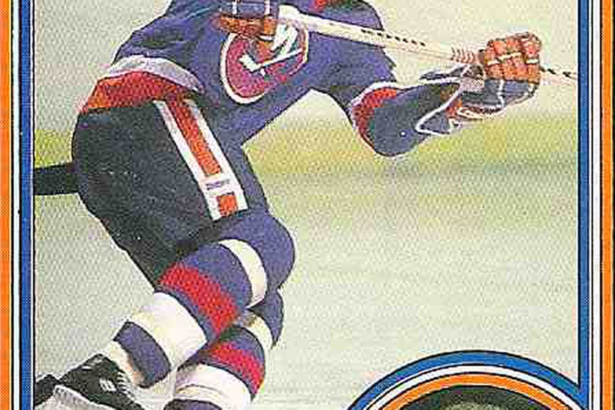 Gillies' 1984-85 OPC card, with wavy 'fro in full effect.