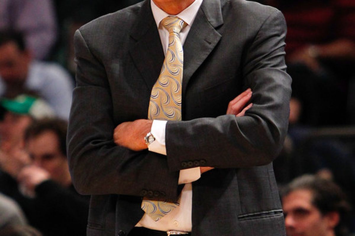 Apr. 13, 2012; New York, NY, USA; Washington Wizards head coach Randy Wittman on the sidelines during the first half against the New York Knicks at Madison Square Garden. Mandatory Credit: Debby Wong-US PRESSWIRE