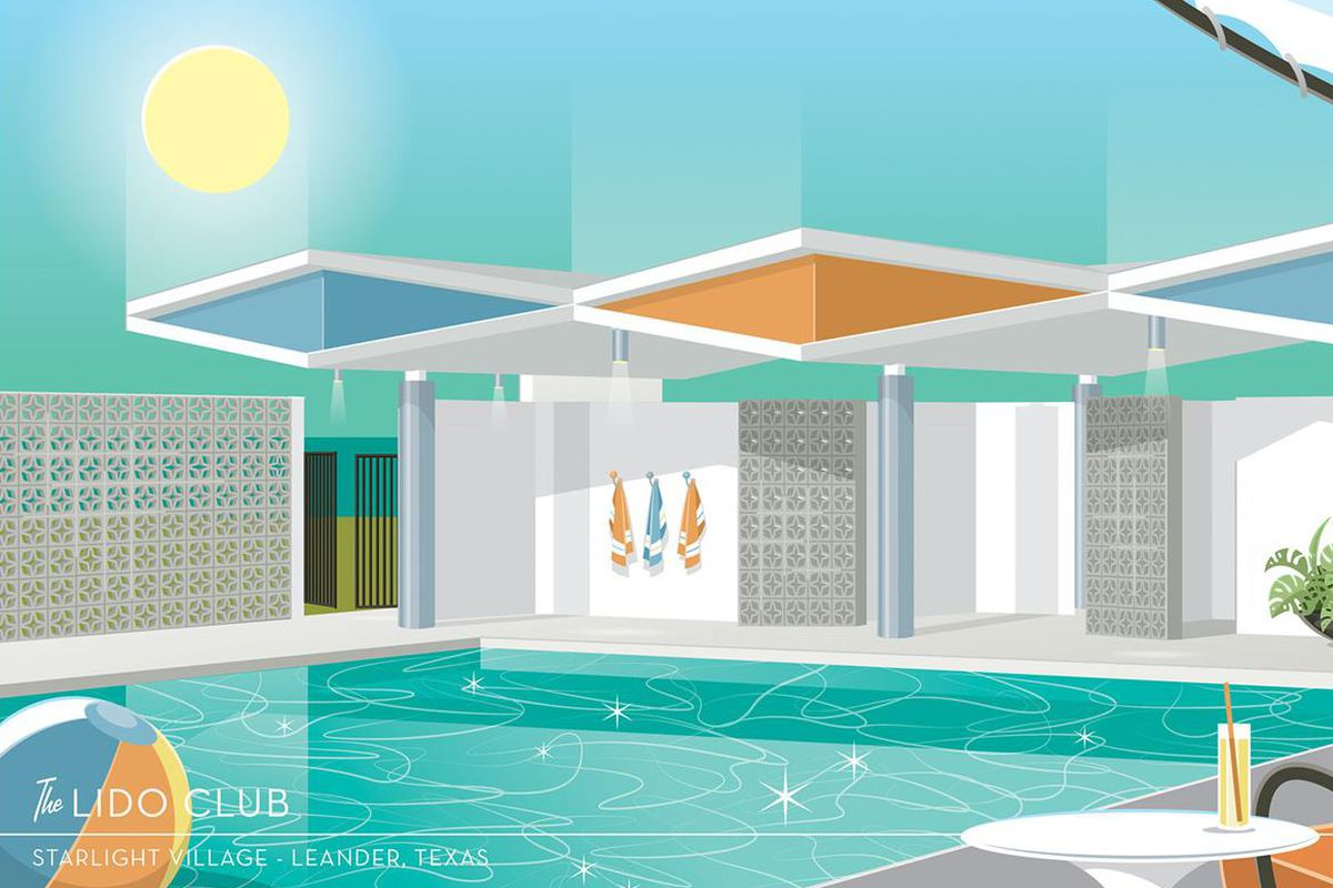 Rendering of a 1960s-style pool and clubhouse
