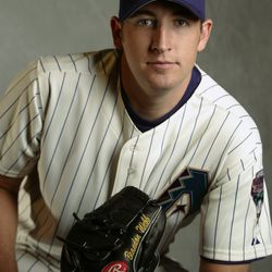 A fresh-faced Webb - then only 23 - poses for a portrait during the Diamondbacks' spring training Media Day on February 22, 2003
