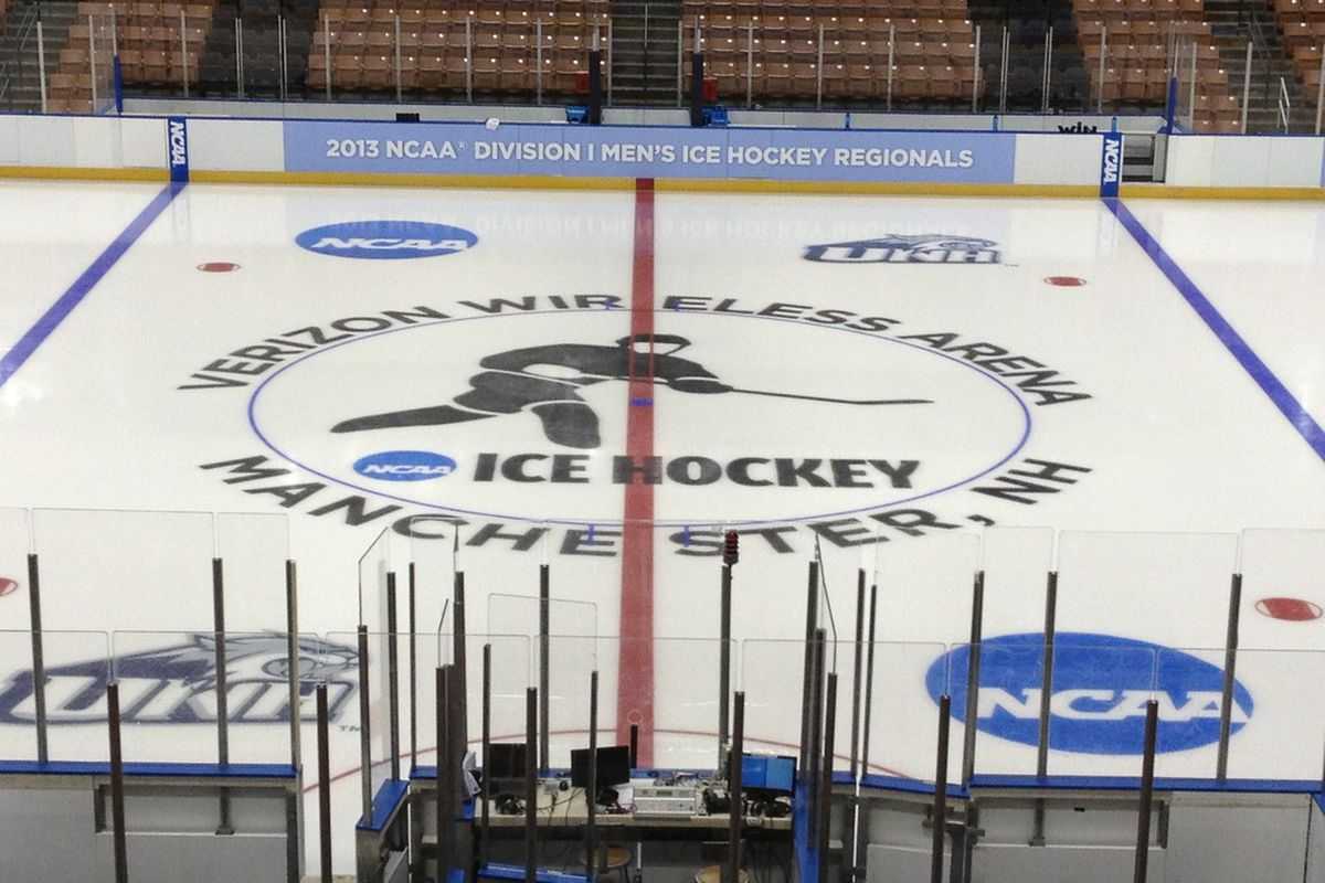 The Verizon Wireless Arena ice surface in Manchester, NH.
