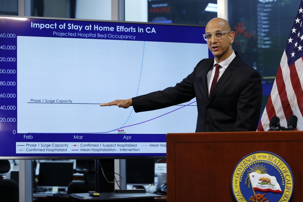 In this April 1, 2020, file photo Dr. Mark Ghaly, secretary of the California Health and Human Services, gestures to a chart showing the impact of the mandatory stay-at-home orders during a news conference at the Governor's Office of Emergency Services in Rancho Cordova, Calif.
