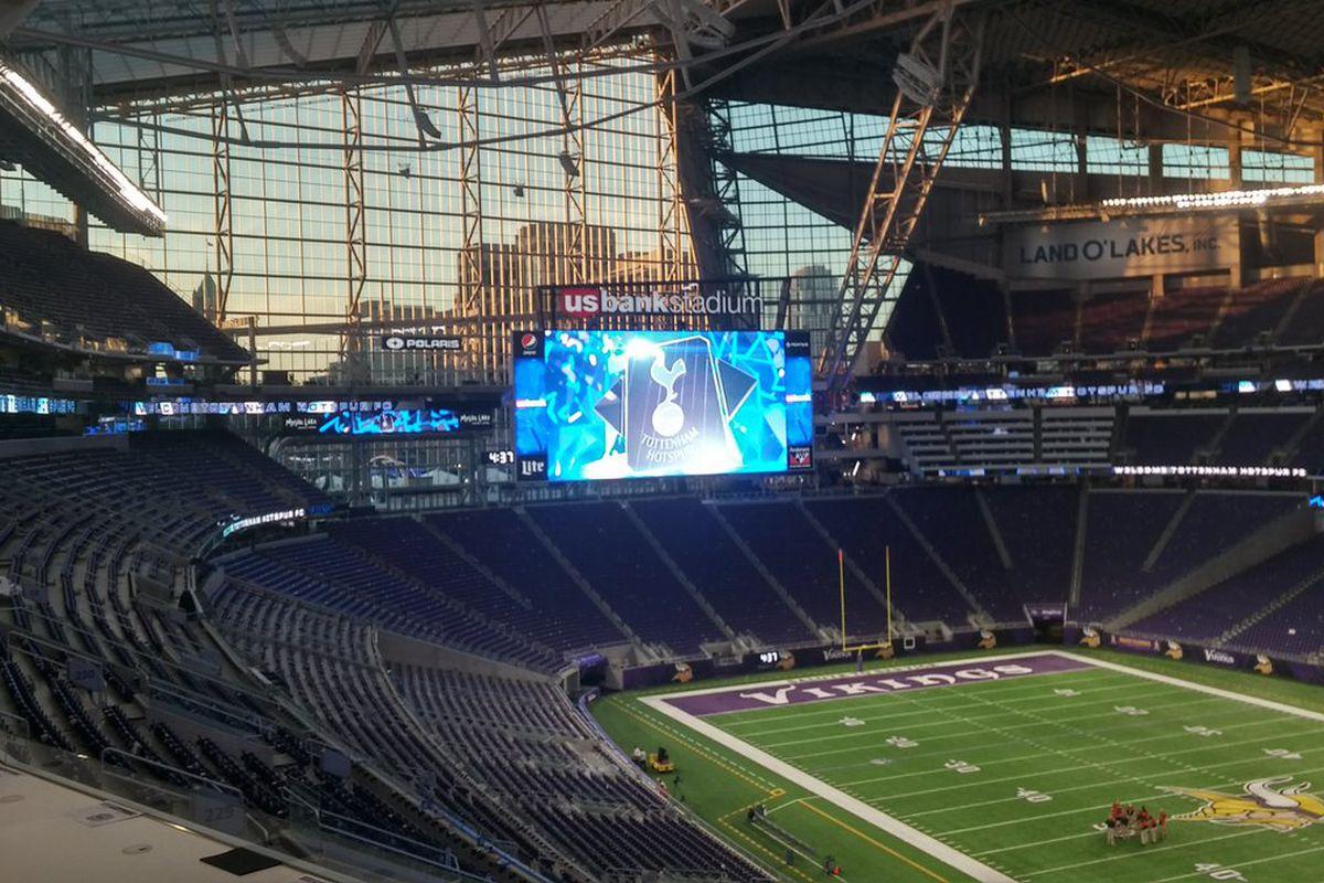 Tottenham Hotspur graphics on the jumbotron at the new U.S. Bank Stadium, home of the NFL's Minnesota Vikings