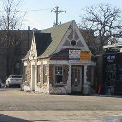 The old service station still hangs on
