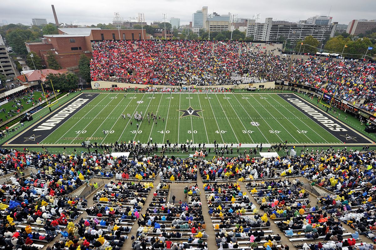A general view of the inside of Vanderbilt Stadium during a game between the Vanderbilt Commodores and the Georgia Bulldogs on October 19, 2013 in Nashville, Tennessee.