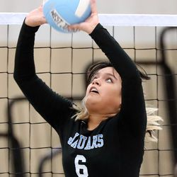 West Jordan's Ianella Morillo sets the ball during a high school volleyball game at West Jordan High School in West Jordan on Thursday, Sept. 2, 2021.