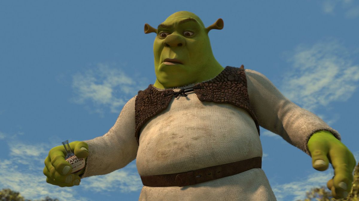 shrek making a face after drinking a potion