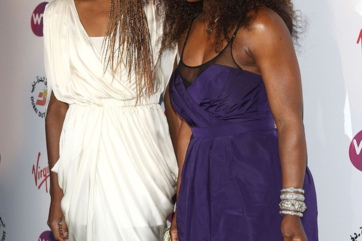 LONDON, ENGLAND - JUNE 21: Venus Williams (L) and Serena Williams (R) arrive at the WTA Tour Pre-Wimbledon Party at The Roof Gardens, Kensington on June 21, 2012 in London, England.  (Photo by Tom Dulat/Getty Images for WTA)