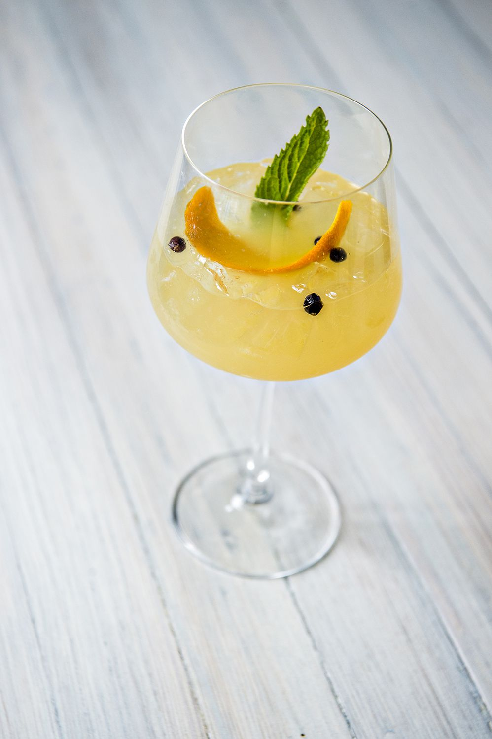 The white sangria with pinot grigio, Family Jones gin, and apricot brandy mixed with a house-made citrus macerate at Lola Coastal Mexican.