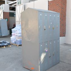 Employee lockers waiting to be moved out of Wrigley