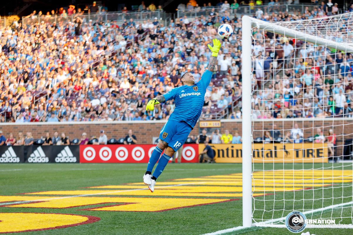 July 14, 2018 - Minneapolis, Minnesota, United States - Darwin Quintero chips the ball over Real Salt Lake goalkeeper Nick Rimando (18) to score a goal during the match at TCF Bank Stadium.