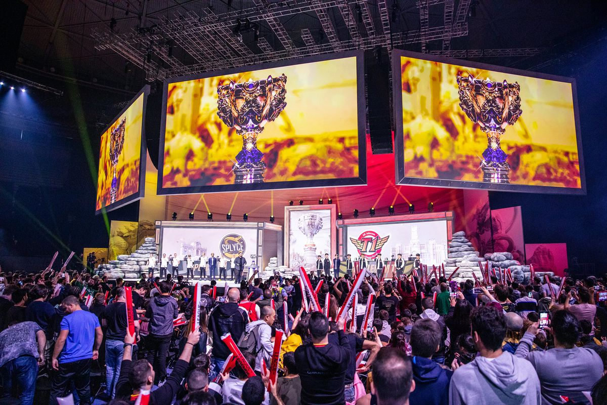 A photo from the World's quarterfinals where SKT went up against Splyce