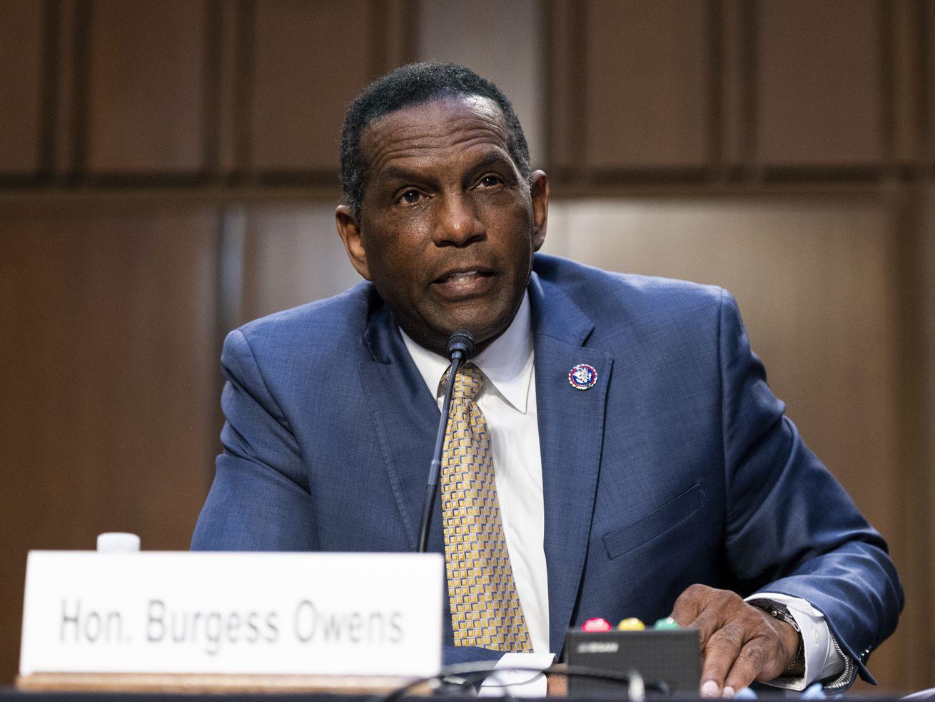 Rep. Burgess Owens, R-Utah, speaks during a Senate Judiciary Committee in Washington on Tuesday, April 20, 2021.