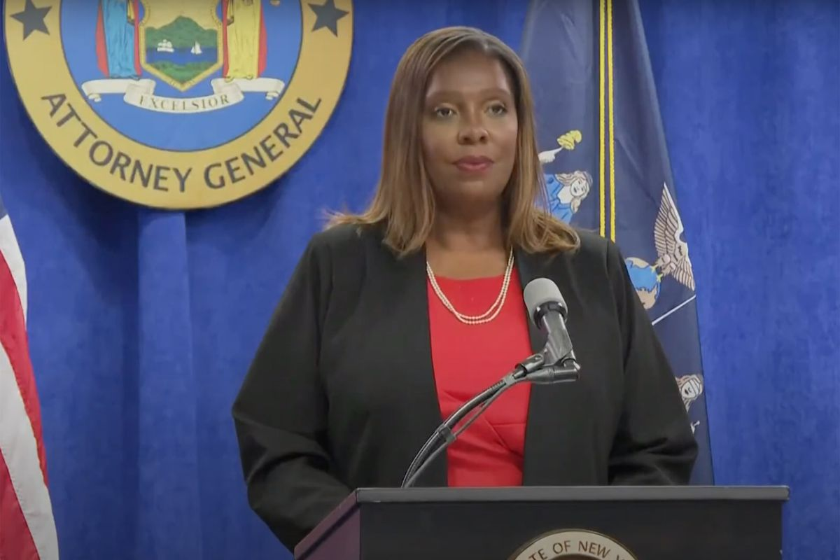 State Attorney General Letitia James speaks at a press conference on report that Governor Andrew Cuomo has sexual harassed past and present employees, August 3, 2021.
