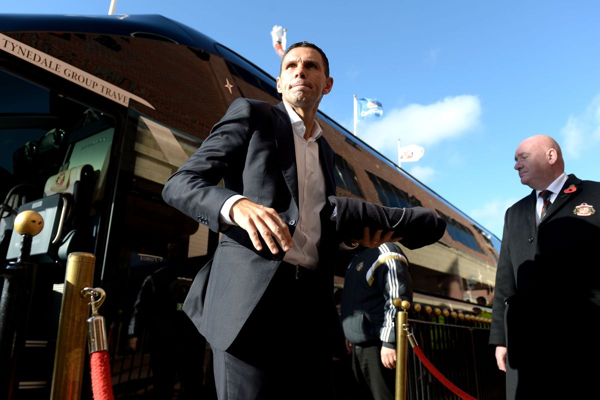 Gus Poyet arrives for today's game.