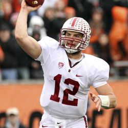 FOR USE AS DESIRED WITH NFL DRAFT STORIES - FILE - In this Nov. 5, 2011, file photo, Stanford quarterback Andrew Luck throws a pass during the first half of an NCAA college football game against Oregon State in Corvallis, Ore. Luck is a top prospect in the upcoming NFL football draft.