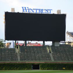 6:26 p.m. The left field video board -