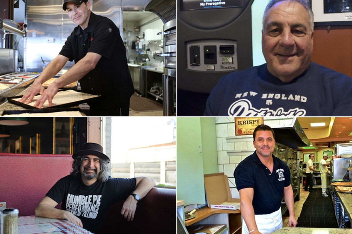 "Clockwise from top left: Lee Hunzinger, Zoli's NY Pizza Tavern, Dallas. [Photo: <a href=""http://dallas.eater.com/archives/2014/03/18/zolis-lee-hunzinger-talks-life-in-the-pizza-biz.php"">Margo Sivin/EDFW</a>], Lennie Timpone,  Santarpio's, Boston [Ph"