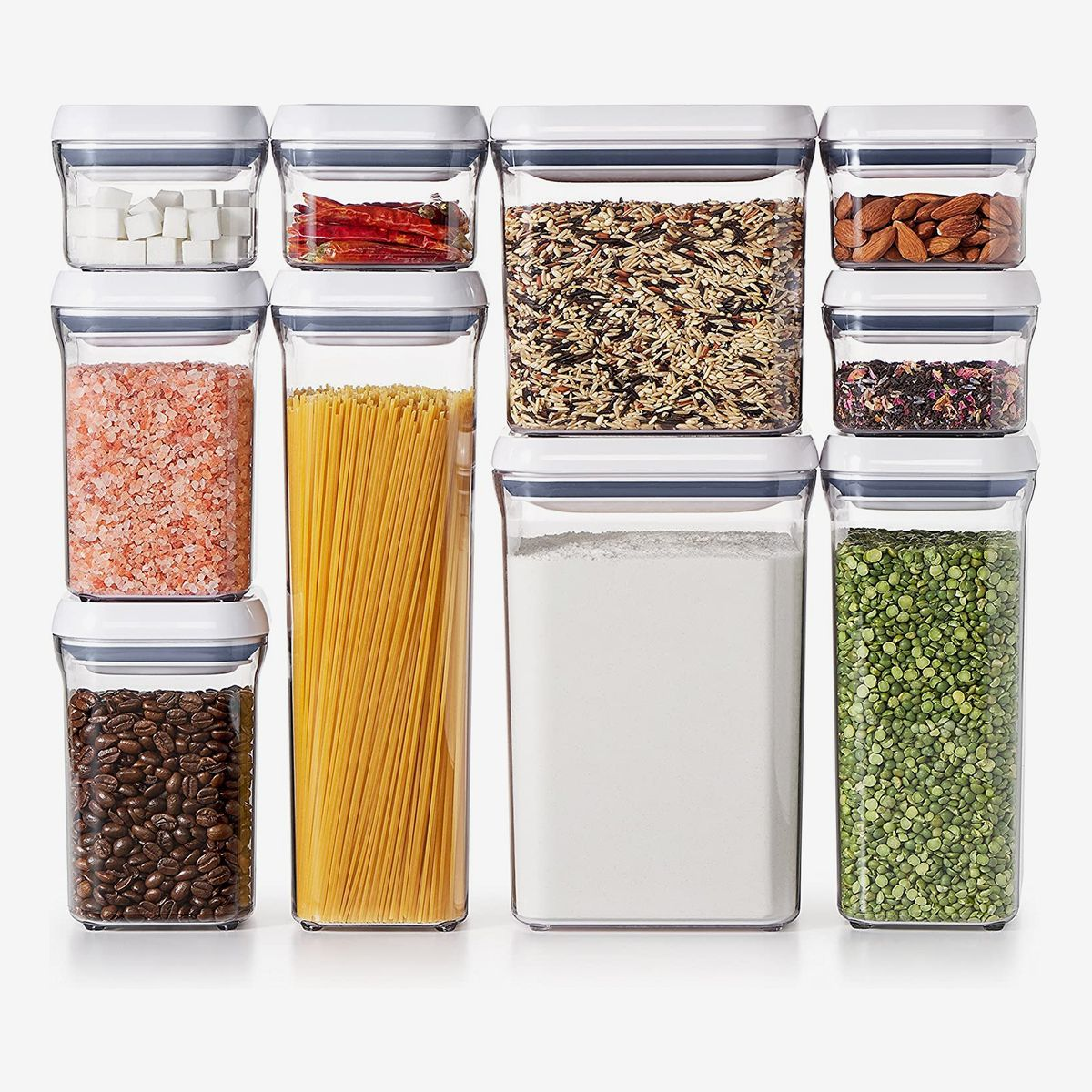 A variety of storage containers with white lids.