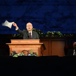 President Russell M. Nelson of The Church of Jesus Christ of Latter-day Saints, leads the Hosanna Shout during the Sunday morning session of the 190th Annual General Conference, televised from the Church Office Building in Salt Lake City on Sunday, April 5, 2020.