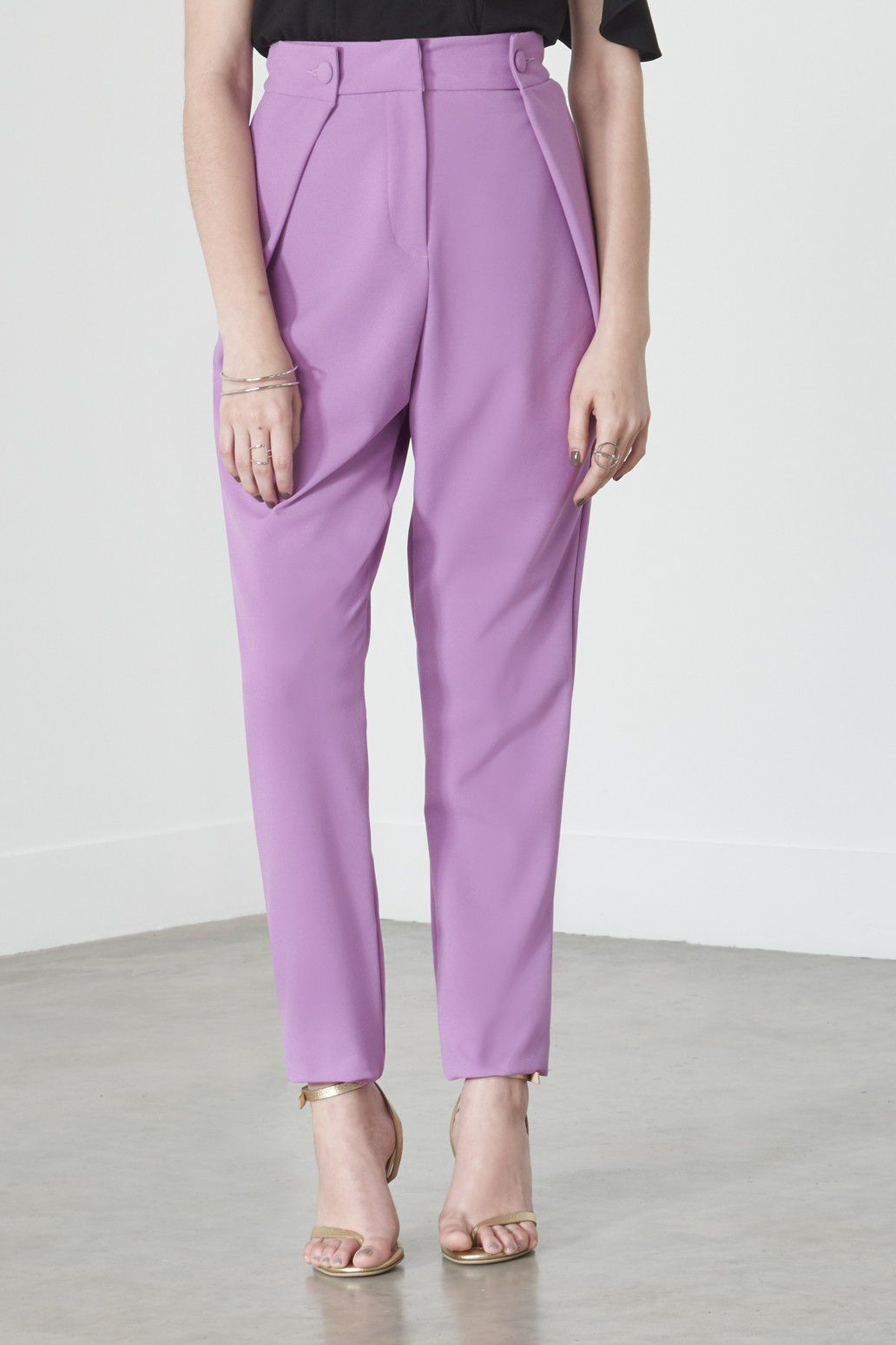 Lavish Alice Button Tab Tailored Trousers in Violet, $75.28
