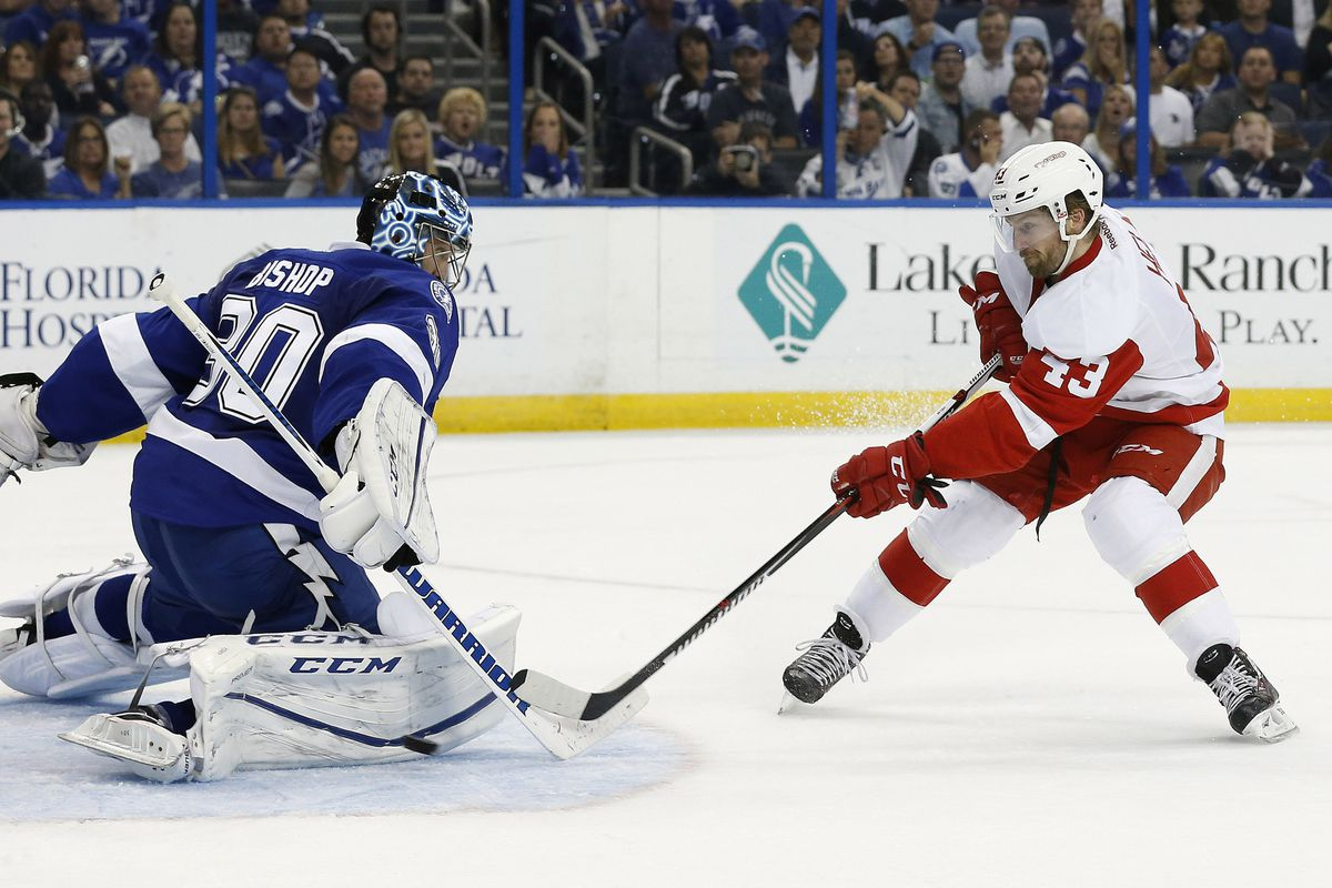 Ben Bishop turns away one of the 34 shots he faced in shutting out Detroit 1-0 Thursday night in Tampa.