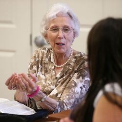 Alzheimer patient Idora Meier participates in Bible study at Sagewood at Daybreak Assisted Living in South Jordan on Tuesday, Aug. 9, 2016.