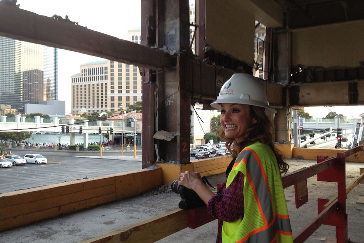 Giada De Laurentiis at the construction site of her first restaurant
