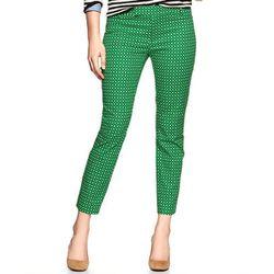 "<b>Gap</b> Slim Cropped Pants in green geo, <a href=""http://www.gap.com/browse/product.do?cid=57240&vid=1&pid=352649002"">$50</a>"