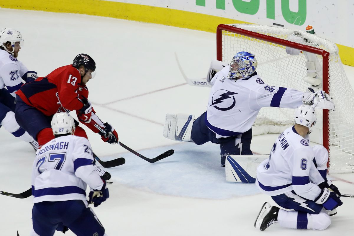 Andrei Vasilevskiy  88 of the Tampa Bay Lightning defends against Jakub  Vrana  13 of the Washington Capitals in Game Six of the Eastern Conference  Finals ... a55100ab333a