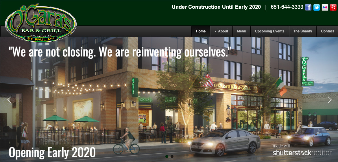 A rendering from the website's landing page of what the newly constructed O'Gara's should have looked like - with a lot of large window for an Irish bar
