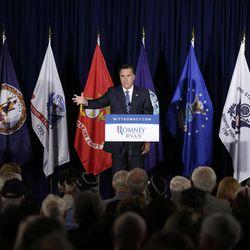 Republican presidential candidate, former Massachusetts Gov. Mitt Romney campaigns at American Legion Post 176 in Springfield, Va., Thursday, Sept. 27, 2012.