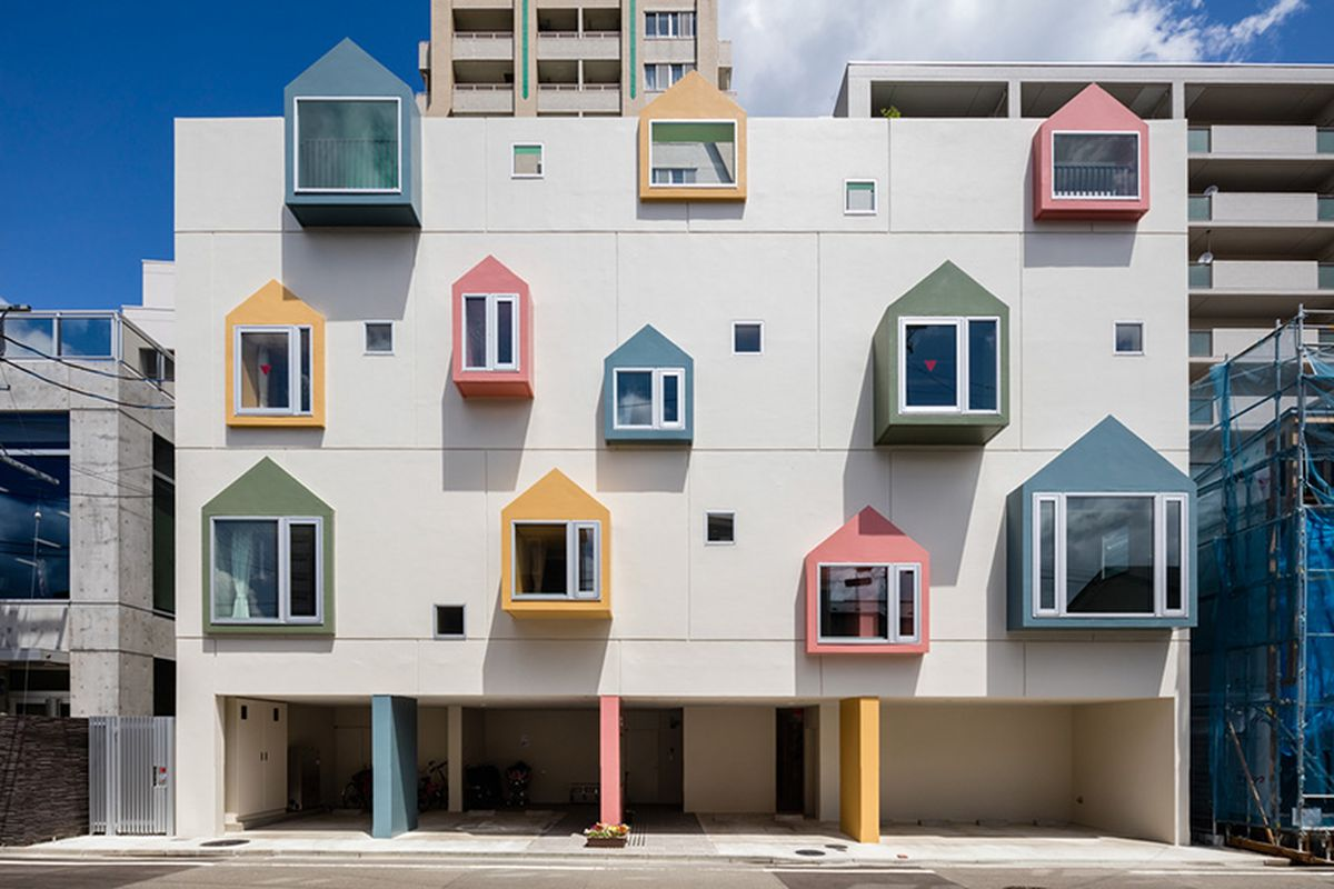 Japanese nursery school with colorful little house windows