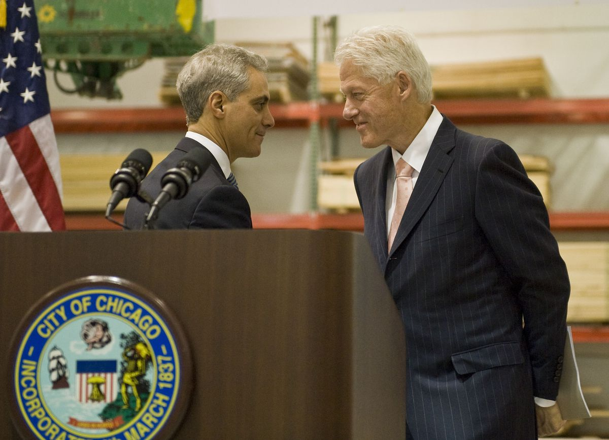Mayor Rahm Emanuel and former President Bill Clinton are shown at the 2012 announcement of the Infrastructure Trust. | Sun-Times file photo