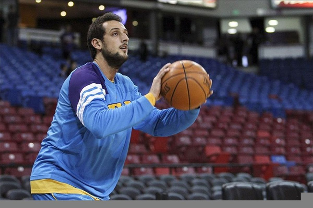 March 7, 2012; Sacramento, CA, USA; New Orleans Hornets shooting guard Marco Belinelli (8) warms up before the game against the Sacramento Kings at Power Balance Pavilion. Mandatory Credit: Kelley L Cox-US PRESSWIRE