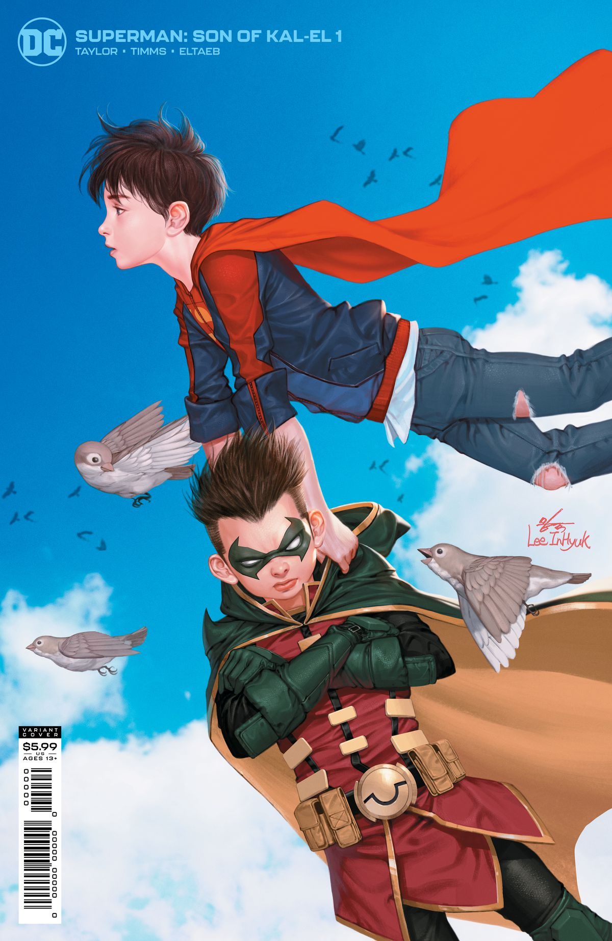 Jon Kent/Superbow carries a grumpy Damian Wayne/Robin through the sky on the cover of Superman: Son of Kal-El #1, DC Comics (2021).