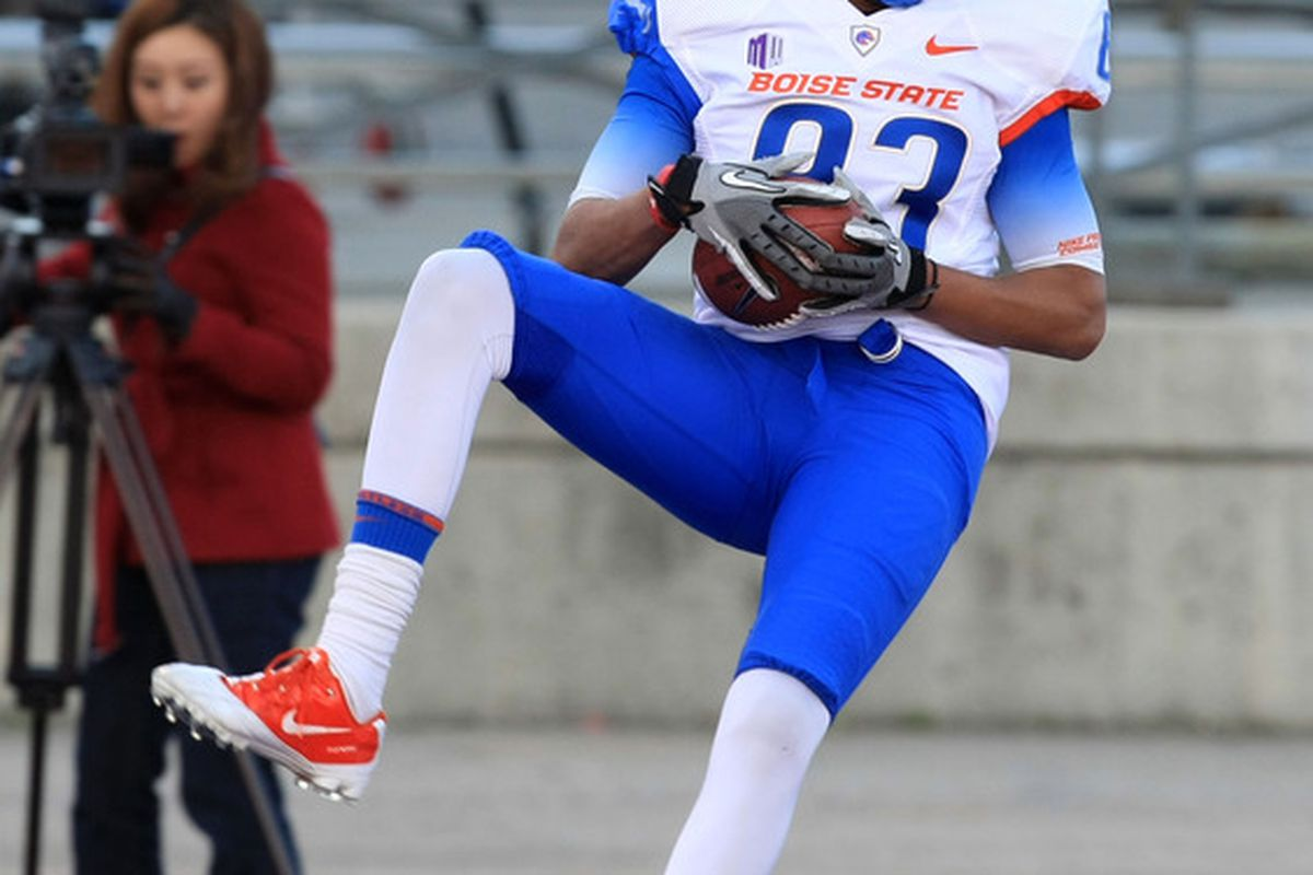 April 16, 2012; Boise, ID, USA; Boise State Broncos wide out Troy Ware (83) catches a touchdown pass from quarterback Nick Patti (not seen) during the spring game at Bronco Stadium.  Mandatory Credit: Brian Losness-US PRESSWIRE
