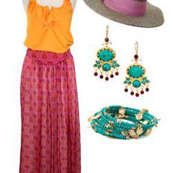 Anama orange ruffle tank, $70, Aryn K. Silk Maxi Skirt, $145;<br />Christy's Raffia Fedora, $75; AJS Design Studio Turquoise and<br />Carnelian Earrings, $88; Beaded wrap bracelet, $28.