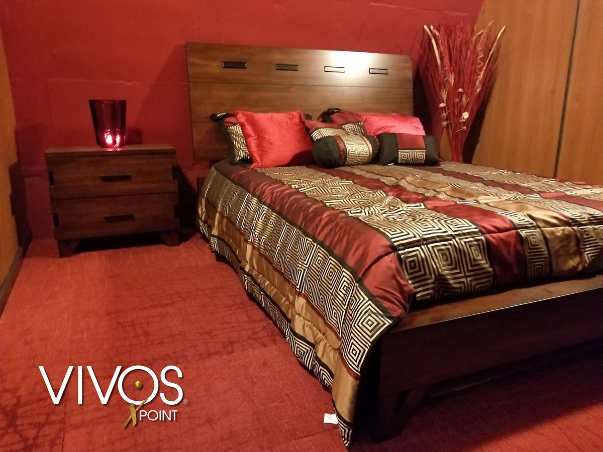 A promotional photo of a bedroom in one of the bunkers at xPoint.