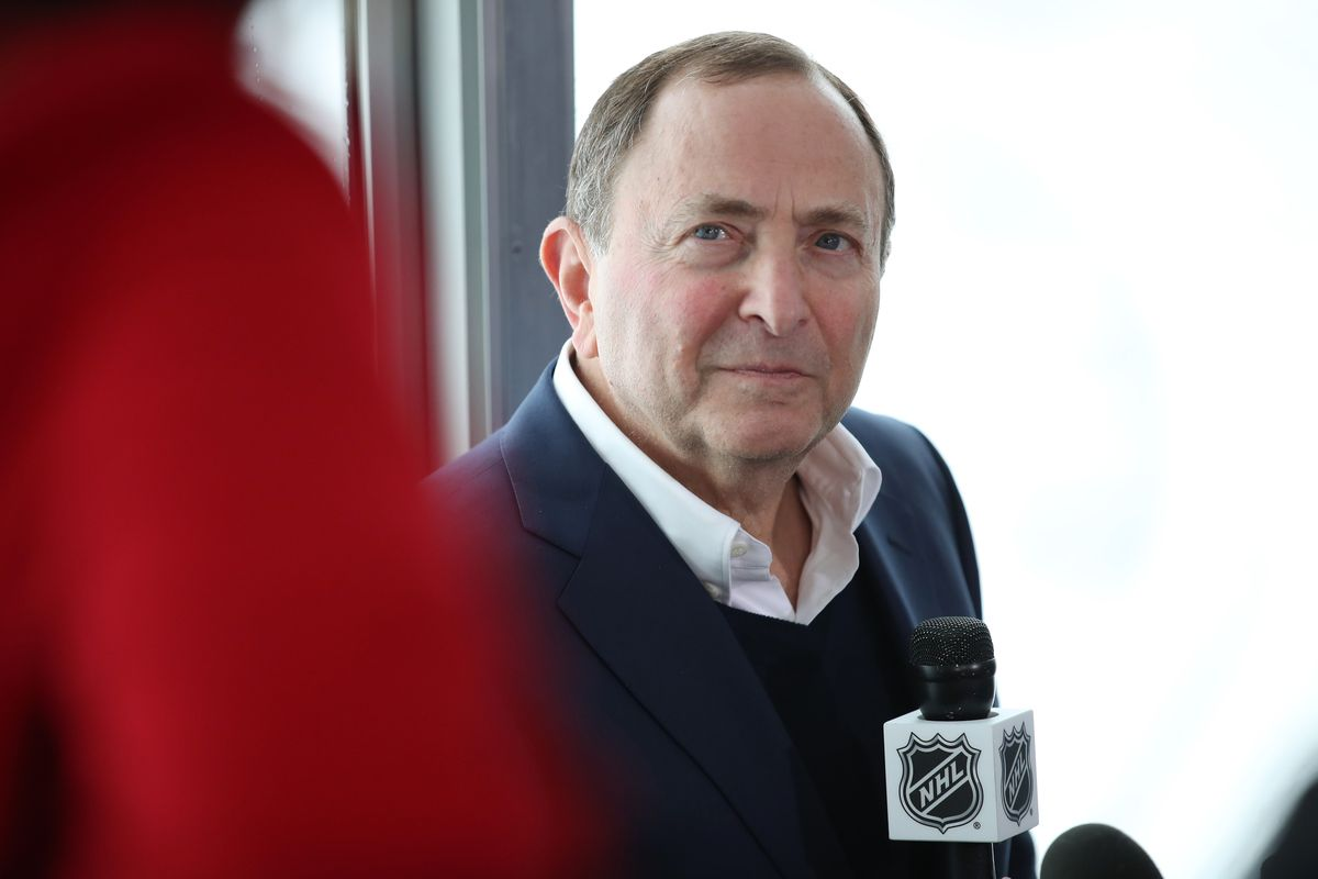 NHL Commissioner Gary Bettman addresses the media after a press conference announcing the 2020 Navy Federal Credit Union NHL Stadium Series at Falcon Stadium on October 10, 2019 in Colorado Springs, Colorado.