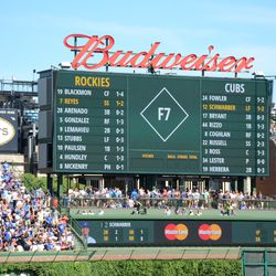 3:39 p.m. Score keeping information displayed on the right field video board -