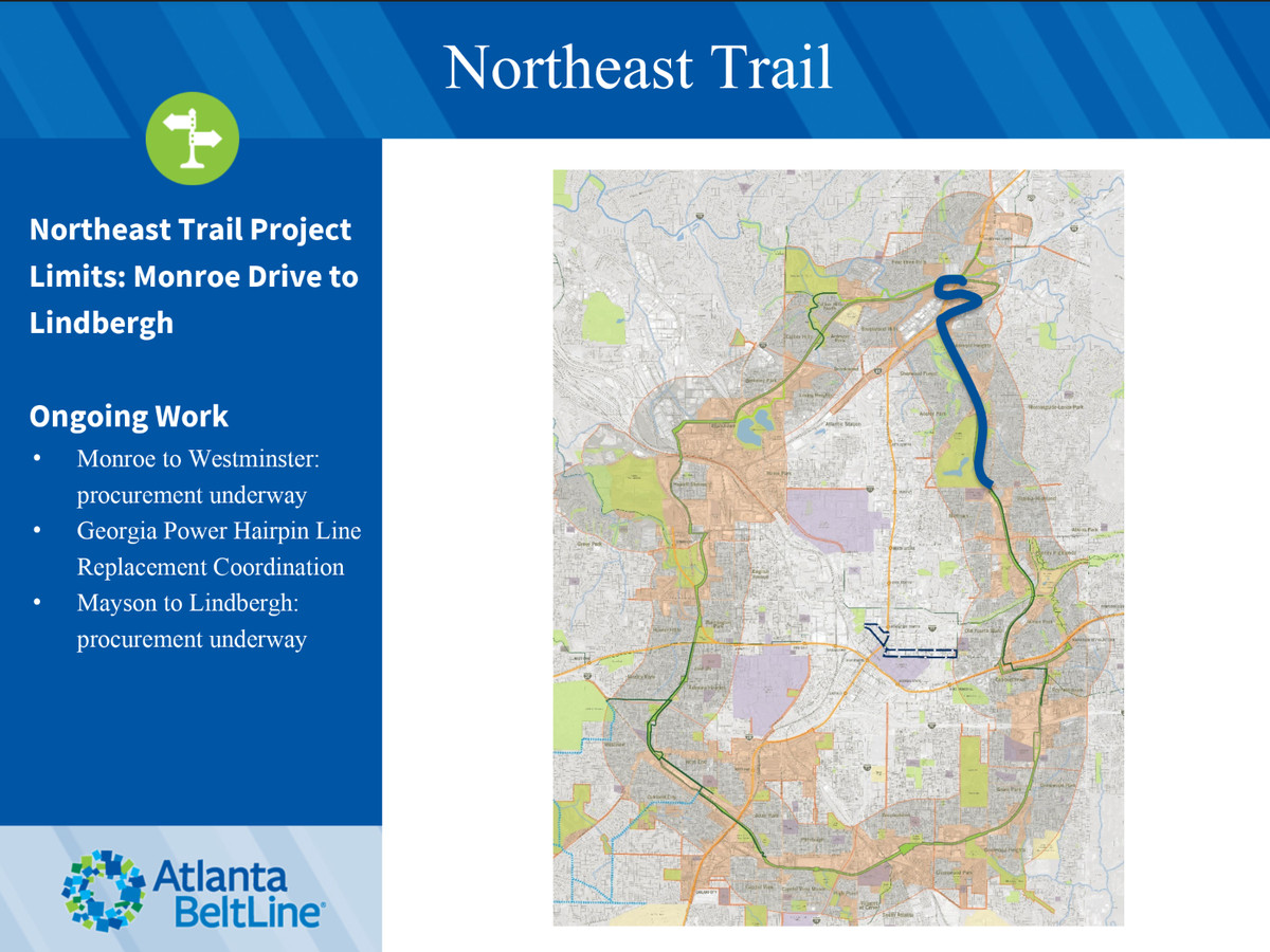 A map showing where the Northeast Beltline trail will be.