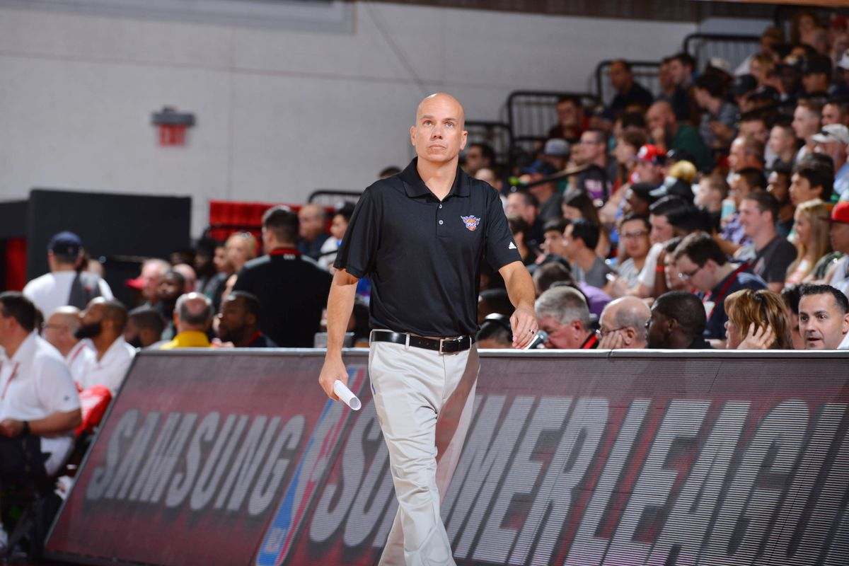 Coach Nate Bjorkgren of the Phoenix Suns looks on during the game against the Portland Trail Blazers during the 2016 NBA Las Vegas Summer League game on July 9, 2016 at the Cox Pavilion in Las Vegas, Nevada.