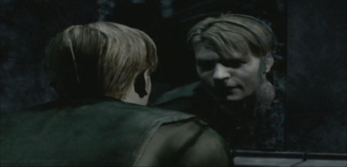 A disheveled man looks into a dark mirror
