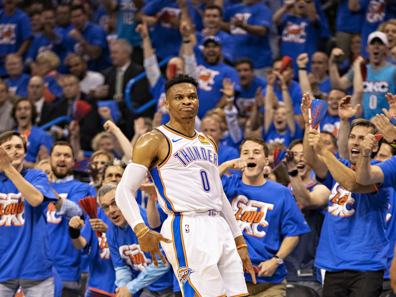 Russell Westbrook celebrates after making a three-pointer during Game 3 of the Thunder's first-round playoff series against the Trail Blazers last season.