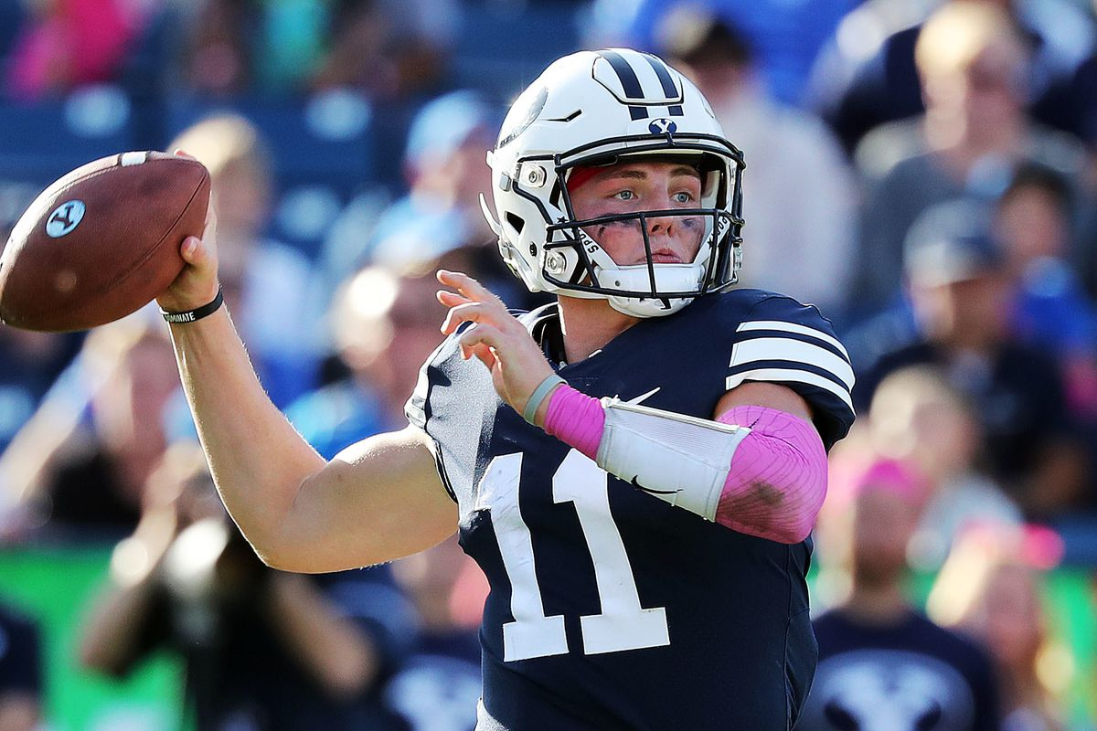 Brigham Young Cougars quarterback Zach Wilson looks to pass during NCAA football against the Northern Illinois Huskies in Provo on Saturday, Oct. 27, 2018.