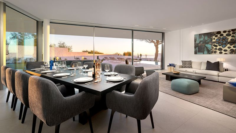 An open living and dining area with a dining table and sofa set in front of glass walls.