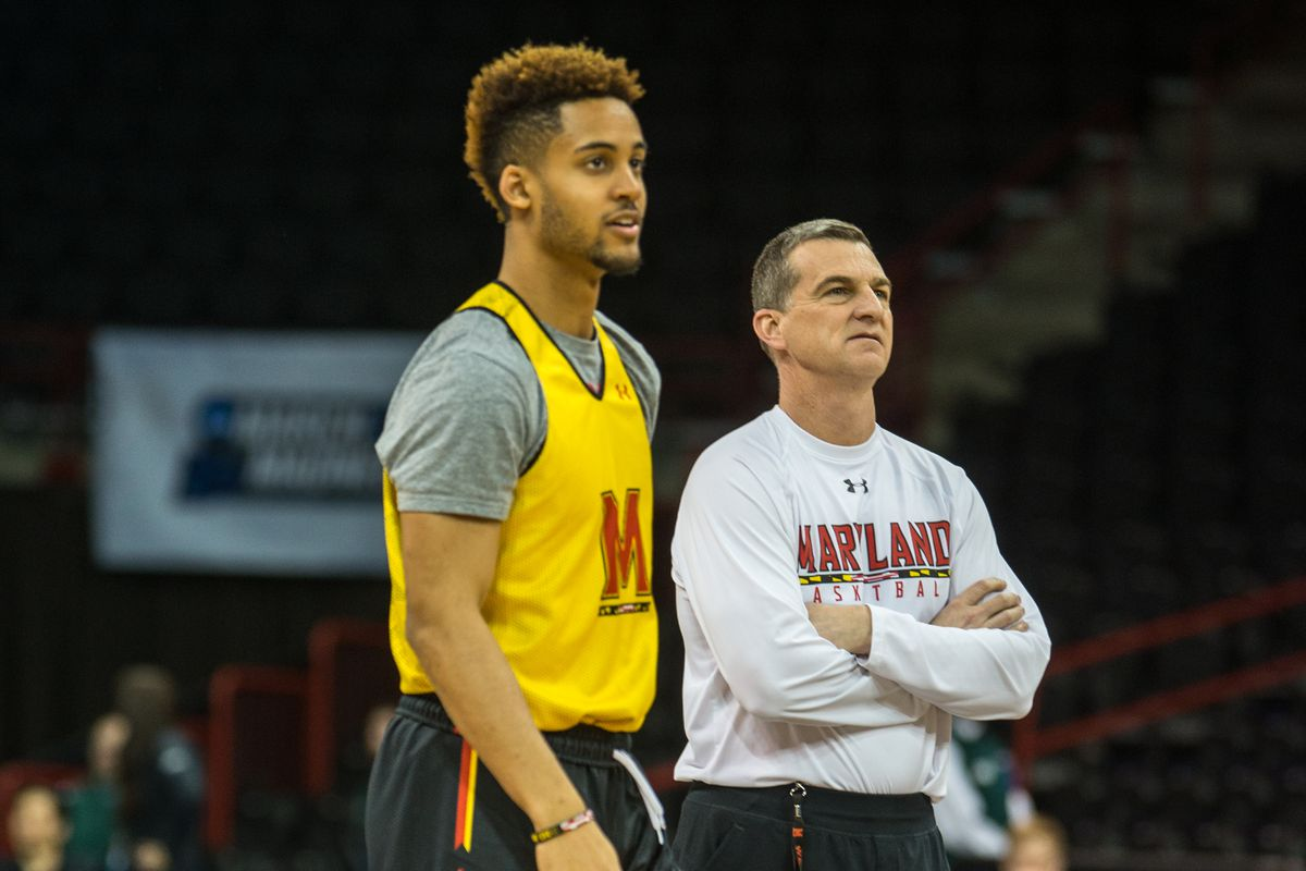 Melo Trimble and Mark Turgeon at Maryland's practice in Spokane, Wash., on Thursday.
