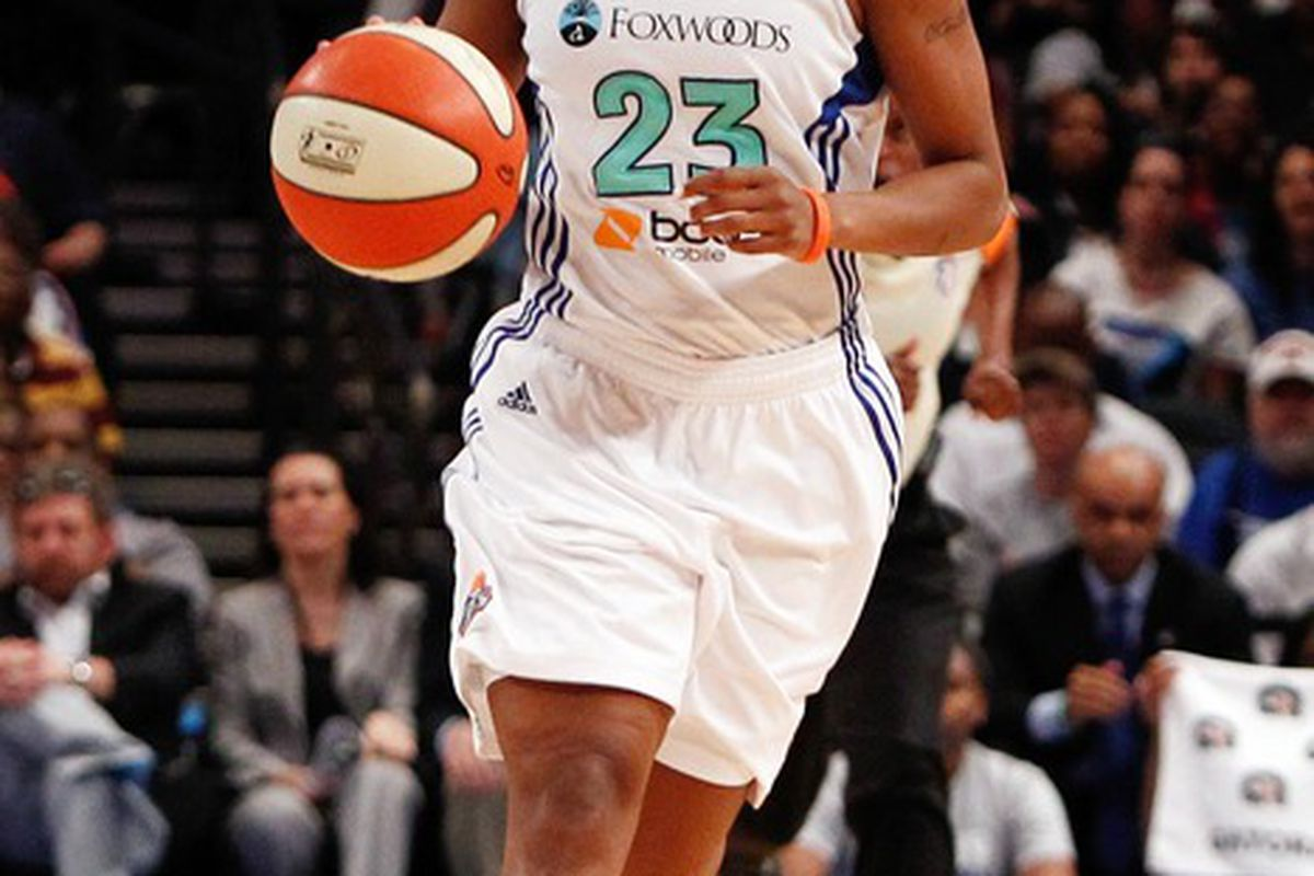 May 19, 2012; New York, NY, USA; New York Liberty guard Cappie Pondexter (23) dribbles the ball against the Connecticut Sun during the second half at Madison Square Garden. Sun won 78-73. Mandatory Credit: Debby Wong-US PRESSWIRE