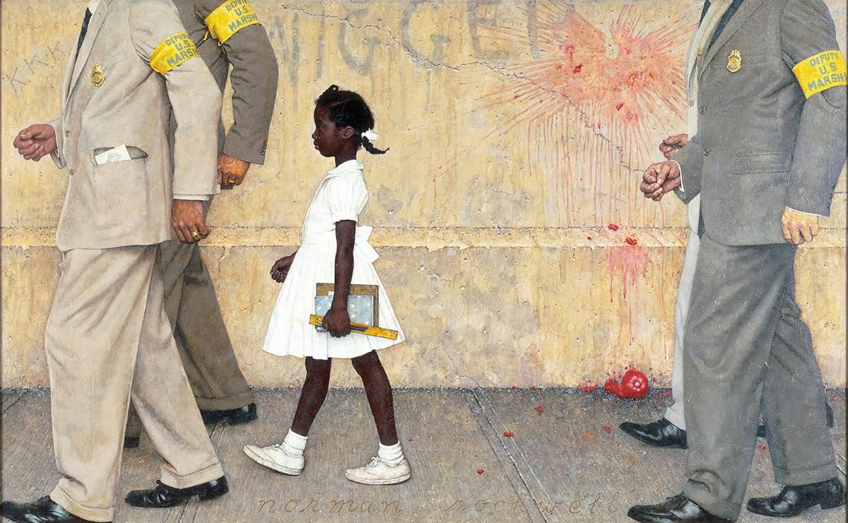 A painting of Ruby Ridges, escorted by US Marshals, to an all-white school in Louisiana.